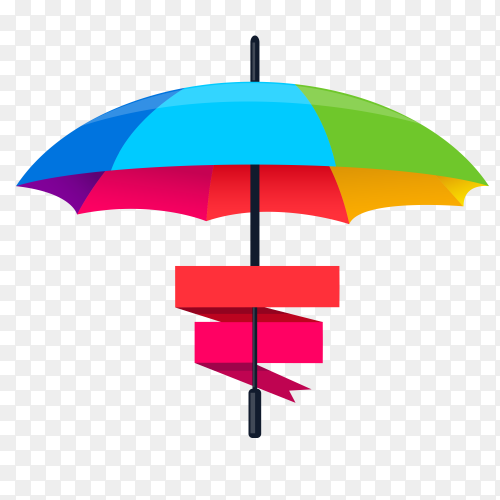 Colorful umbrella with ribbons on transparent background PNG