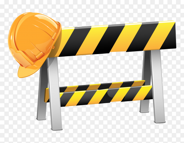 Construction barrier and helmet Premium Vector PG