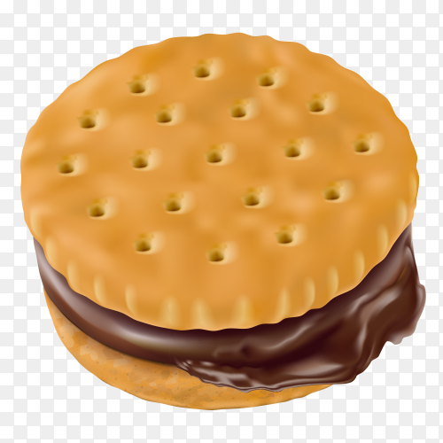Cookies with chocolate cream on transparent PNG