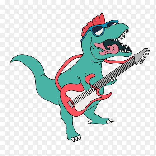 Cool dinosaur playing guitar on transparent background PNG