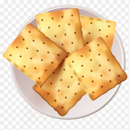 Cracker cookies on white plate on transparent background PNG