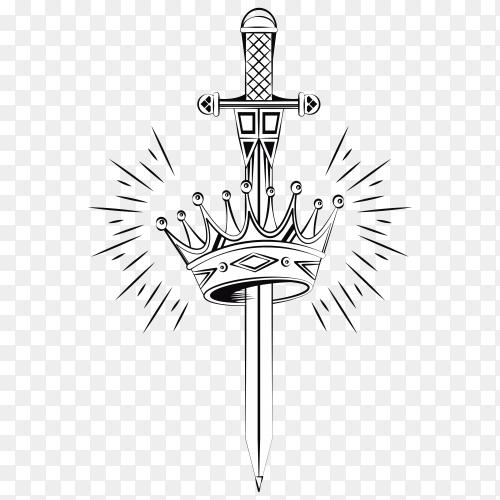 Crown drawing design on transparent background PNG