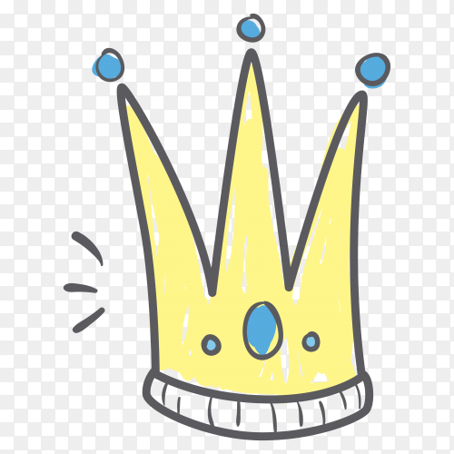 Crown icon cartoon on transparent PNG