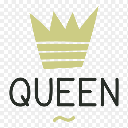 Crown logo ana Queen lettering on transparent PNG