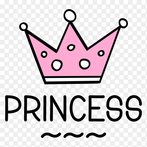 Crown logo and Princess lettering Premium vector PNG