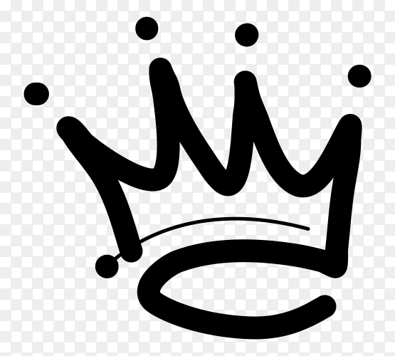 Crown logo hand drawn icon on transparent background PNG