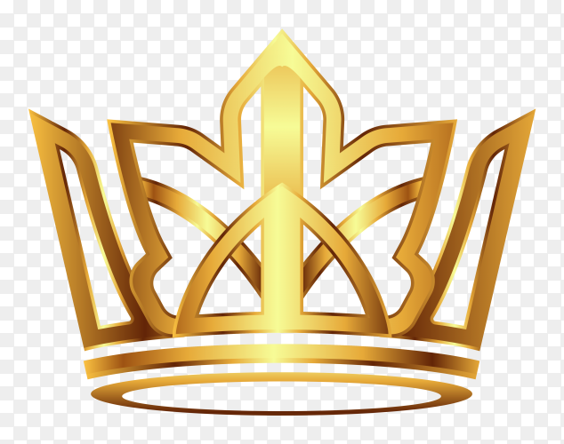Crown modern gold Premium vector PNG