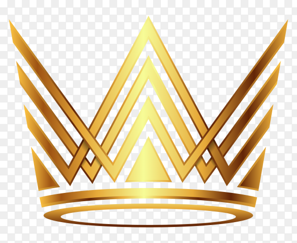 Crown modern gold on transparent PNG