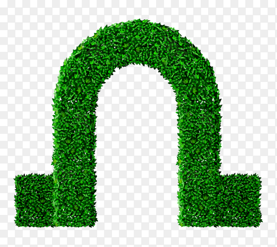 Cut Green Tree Curved Archway on transparent background PNG
