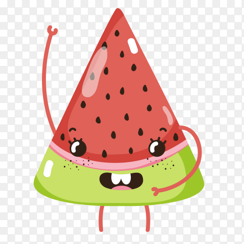 Cute Watermelon cartoons graphic design on transparent background PNG
