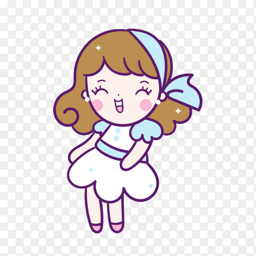 Cute cartoon girl on transparent PNG