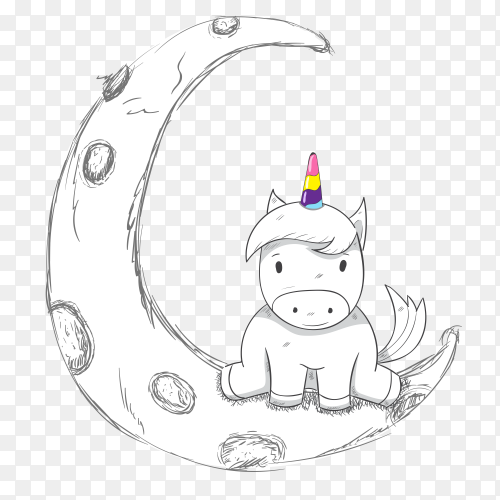 Cute cartoon unicorn girl on moon on transparent PNG