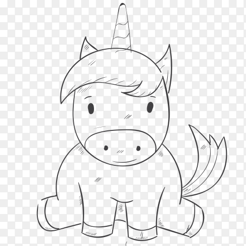 Cute cartoon unicorn on transparent background PNG