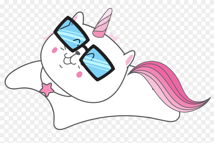 Cute cat unicorn with sunglasess on transparent Background PNG