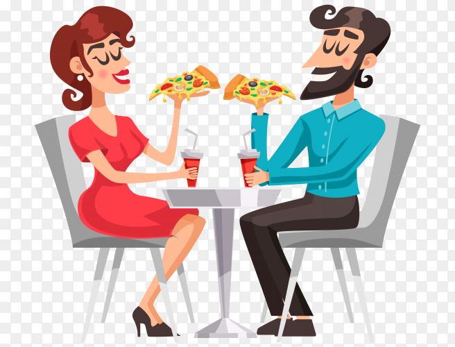 Cute couple eating pizza and drink cola on transparent background PNG