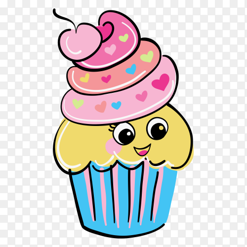 Cute cupcake on transparent background PNG