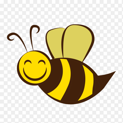 Cute little bee cartoon on transparent background PNG