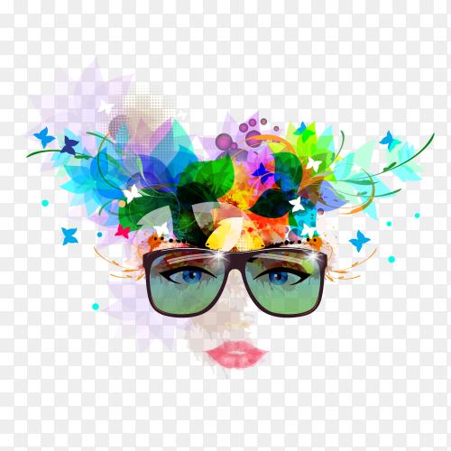 Cute women wearing sunglasses Premium vector PNG