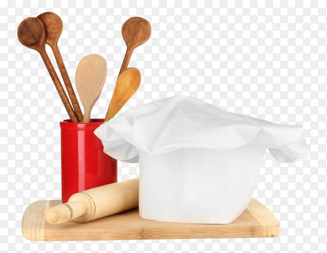 Cutting borad,Cook hat and wooden spoons on transparent PNG