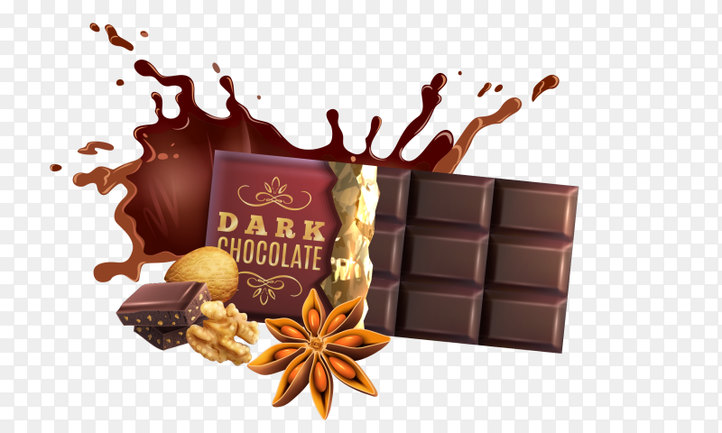 Dark chocolate on transparent PNG