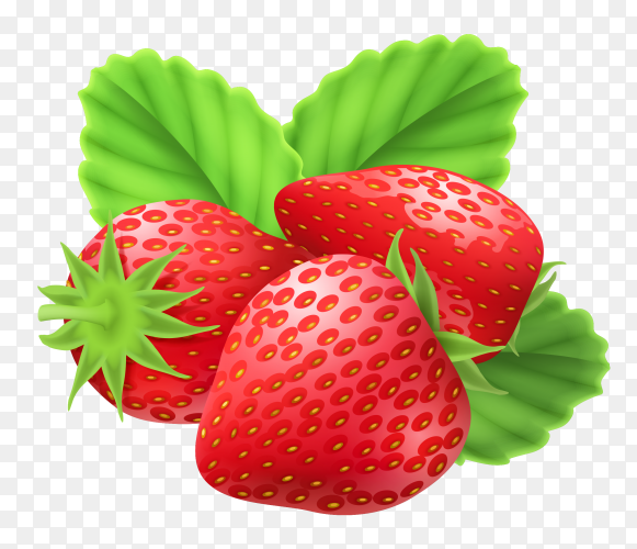 Delicious Strawberries on transparent background PNG