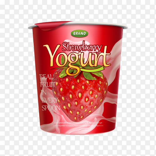 Delicious Strawberry yogurt on transparent background PNG