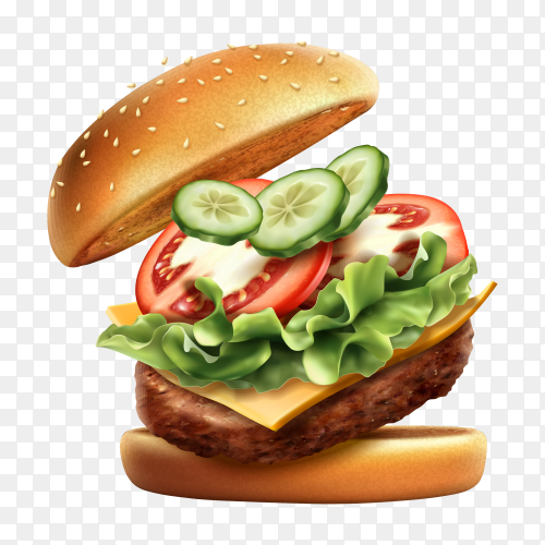 Delicious burger sandwitch on transparent background PNG