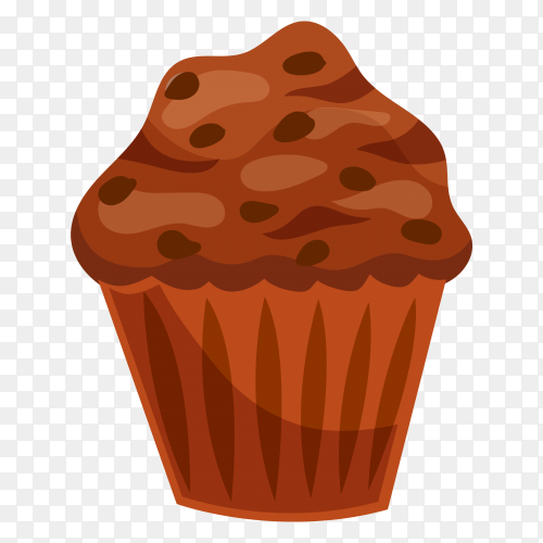 Delicious chocolate cupcake on transparent background PNG