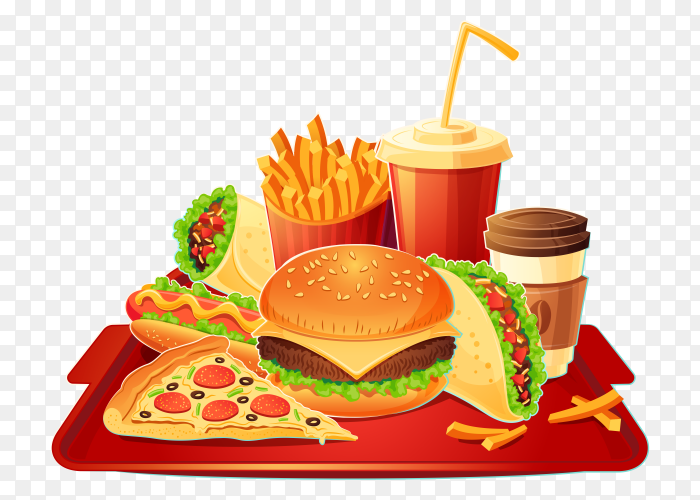 Delicious fast food design vector PNG