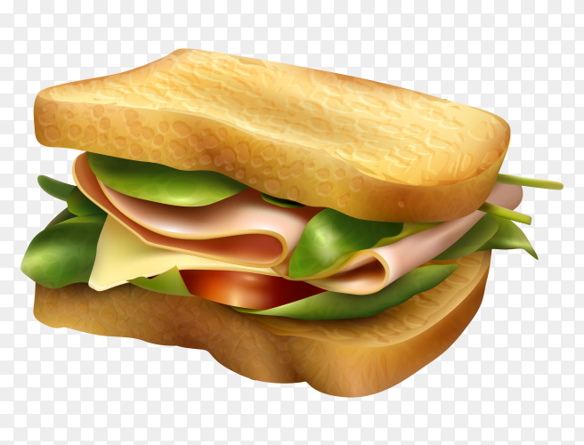 Deslicious sandwitch on transparent PNG
