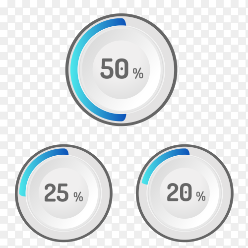 Different values Percentages on transparent background PNG