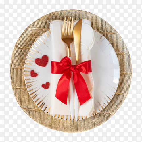 Dish valentine's day with fork, knife, red bow and hearts on transparent background PNG
