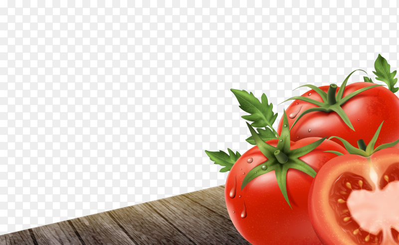 Dlicious Red tomatoes on transparent PNG