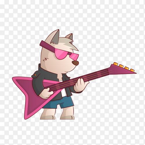 Dog rock musician cartoon illustration on transparent background PNG