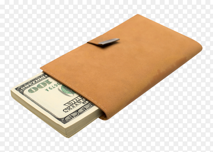 Dollars in brown leather pocket on transparent PNG