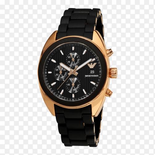 Elegant black watch on transparent background PNG
