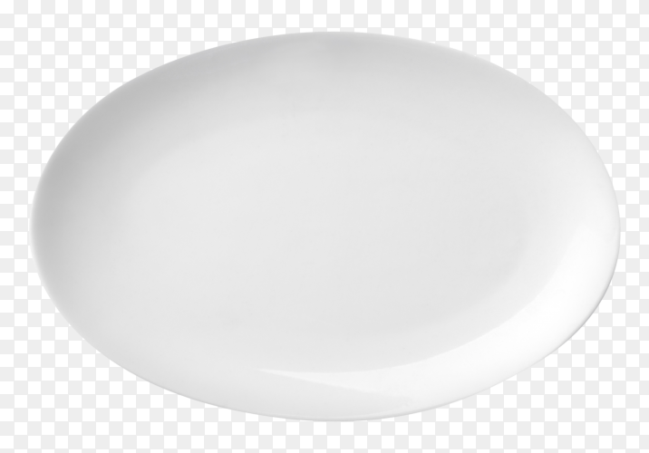 Empty white plate on transparent background PNG
