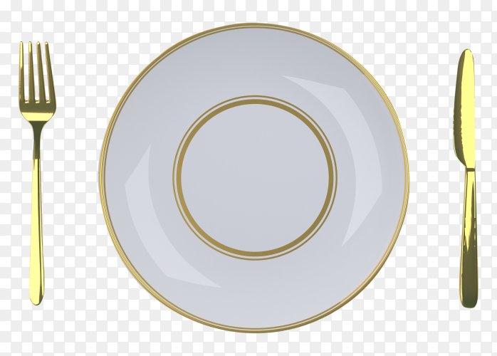 Empty white plate with fork and butter knife on transparent background PNG