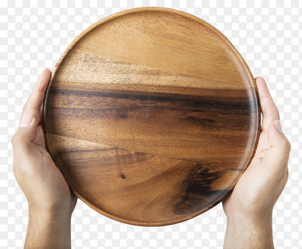 Empty wooden plate on transparent background PNG