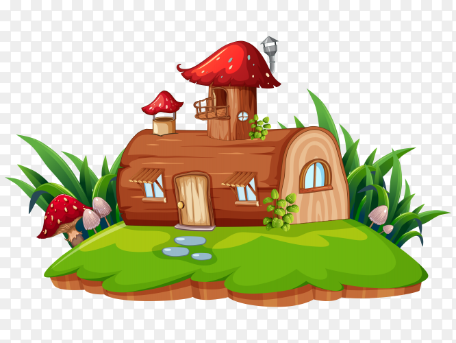 Fantasy house with green grass on transparent background PNG