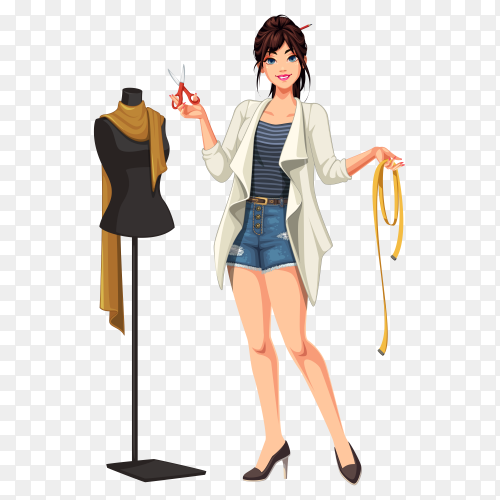 Fashion designer with mannequin on transparent background PNG