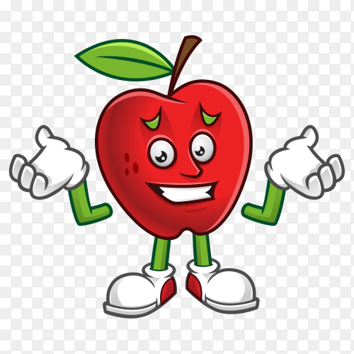 Feeling sorry apple cartoon design clipart PNG