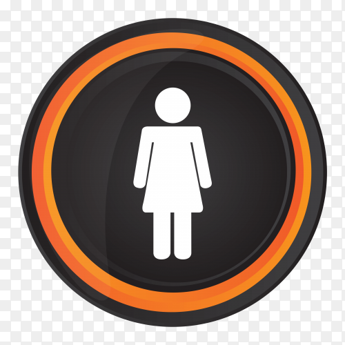 Female bathroom sign on transparent background PNG