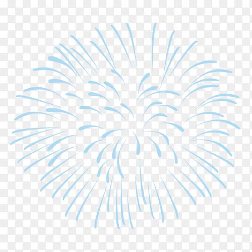 Festive fireworks with bright blue sparks on transparent background PNG