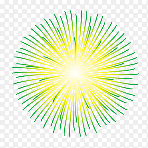 Festive fireworks with bright green and yellow sparks vector PNG