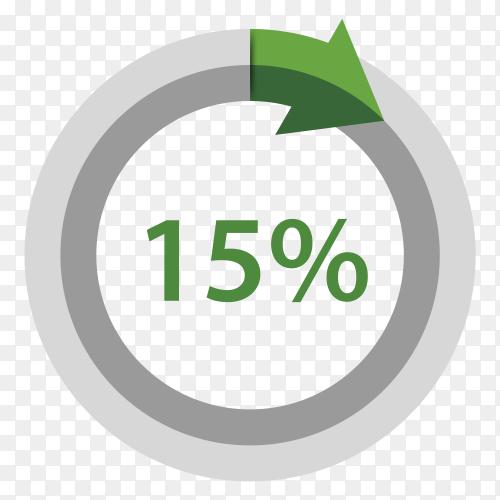 Fifteen Percentage downgrade on transparent background PNG
