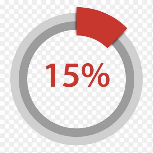 Fifteen percent red gradient pie chart sign on transparent background PNG