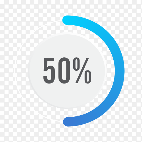 Fifty percent blue grey and white pie chart on transparent background PNG