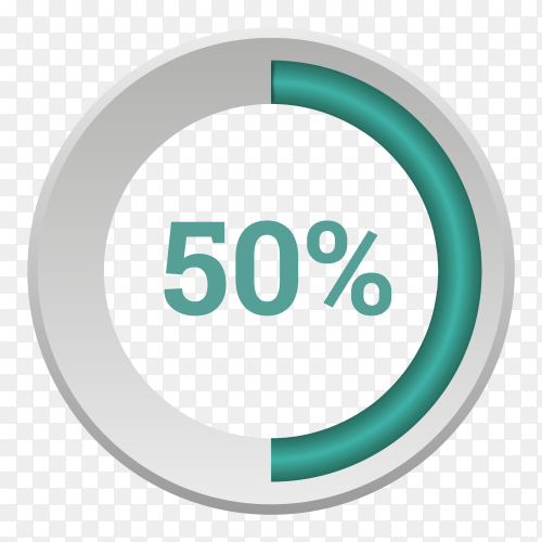Fifty percent green gradient pie chart sign on transparent background PNG