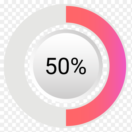 Fifty percent isolated pie chart on transparent background PNG
